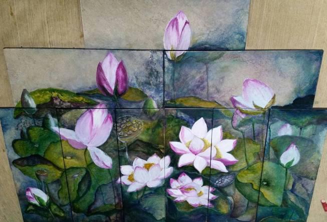 Tile Lotus Painting01